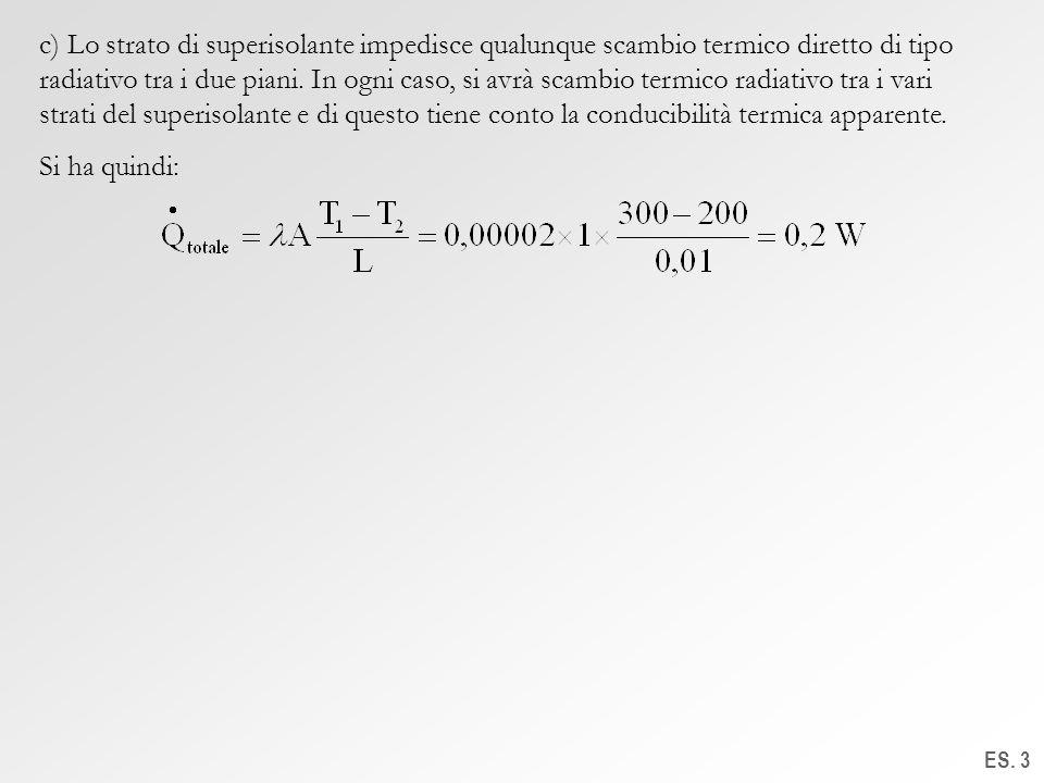 c) Lo strato di superisolante impedisce qualunque scambio termico diretto di tipo radiativo tra i due piani. In ogni caso, si avrà scambio termico radiativo tra i vari strati del superisolante e di questo tiene conto la conducibilità termica apparente.