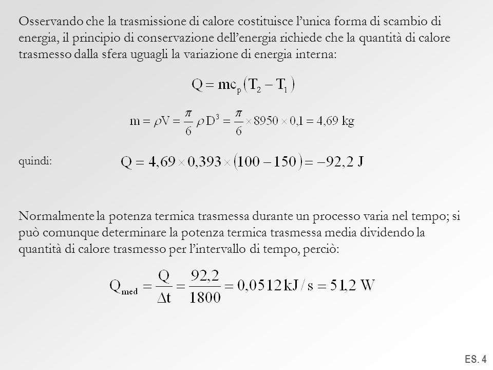 Osservando che la trasmissione di calore costituisce l'unica forma di scambio di energia, il principio di conservazione dell'energia richiede che la quantità di calore trasmesso dalla sfera uguagli la variazione di energia interna: