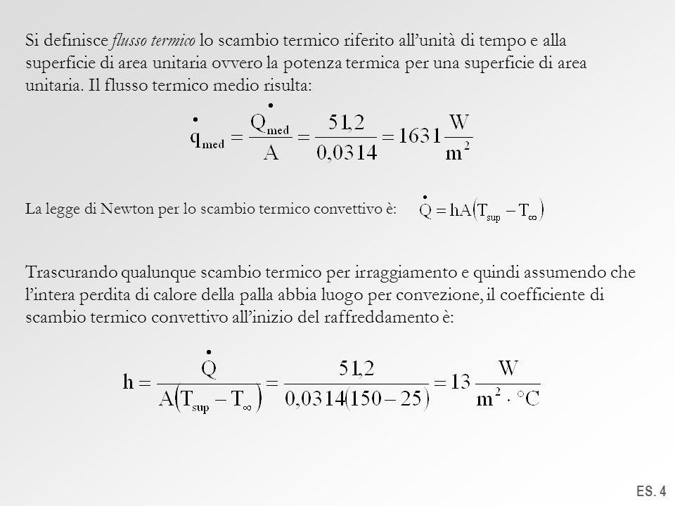 Si definisce flusso termico lo scambio termico riferito all'unità di tempo e alla superficie di area unitaria ovvero la potenza termica per una superficie di area unitaria. Il flusso termico medio risulta: