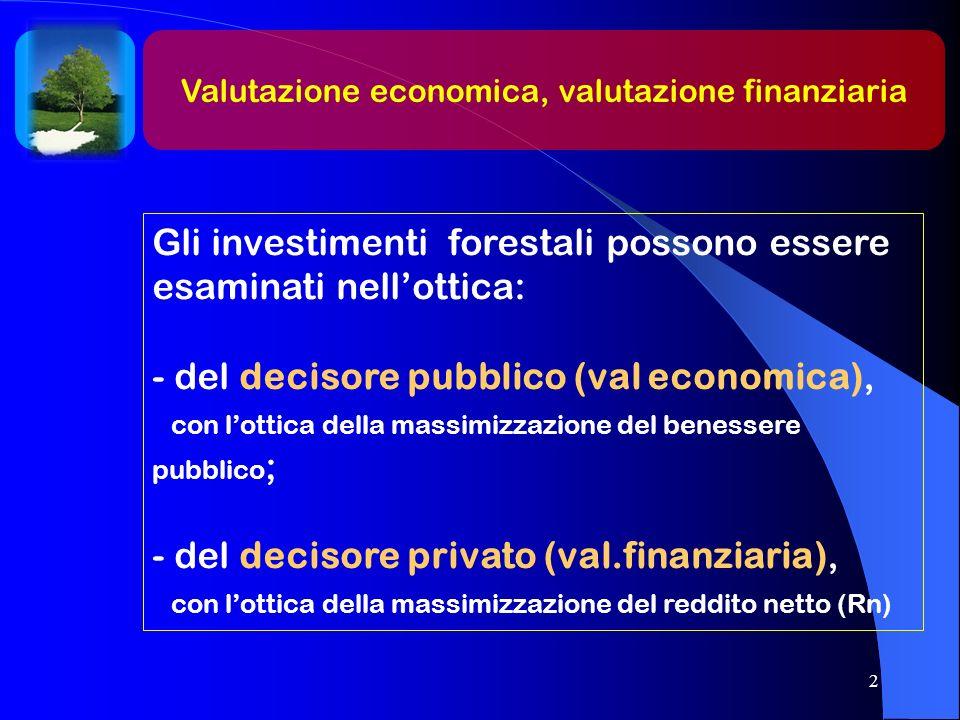 Gli investimenti forestali possono essere esaminati nell'ottica: