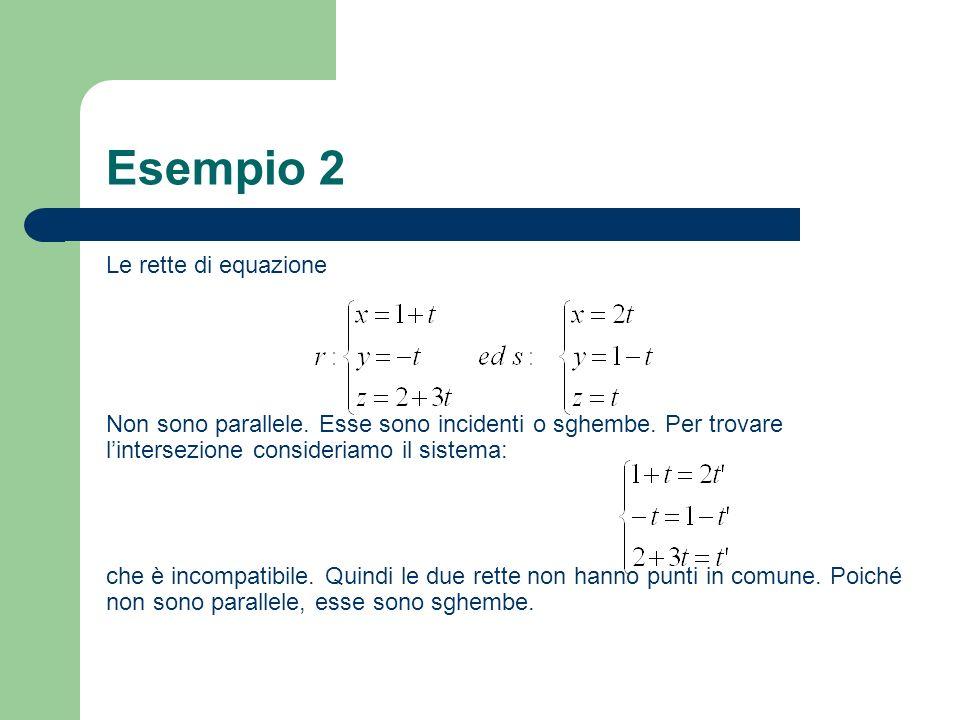 Esempio 2 Le rette di equazione