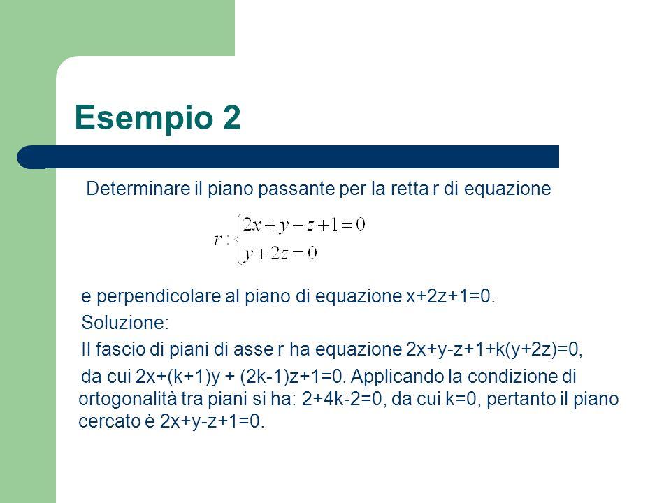 Esempio 2 Determinare il piano passante per la retta r di equazione