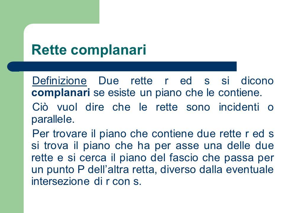Rette complanari Definizione Due rette r ed s si dicono complanari se esiste un piano che le contiene.