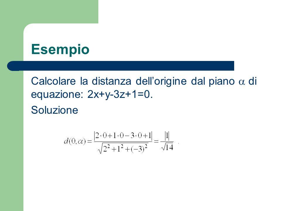 Esempio Calcolare la distanza dell'origine dal piano  di equazione: 2x+y-3z+1=0. Soluzione