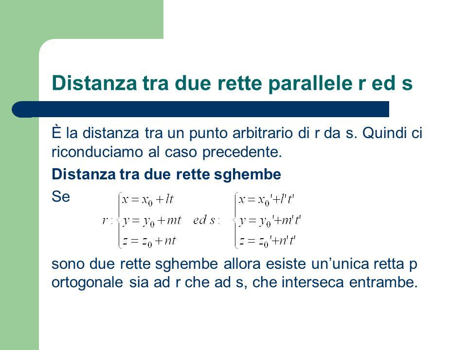 Distanza tra due rette parallele r ed s