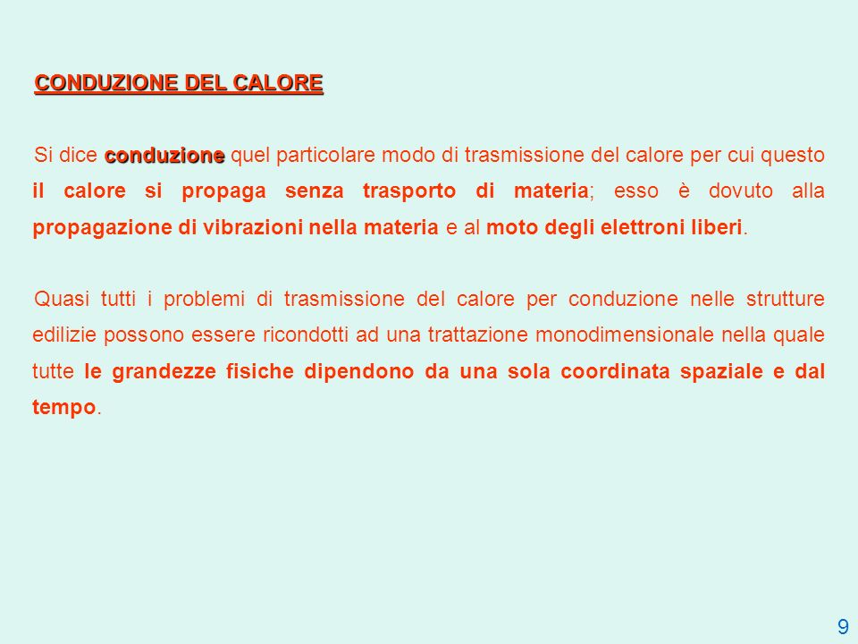 CONDUZIONE DEL CALORE