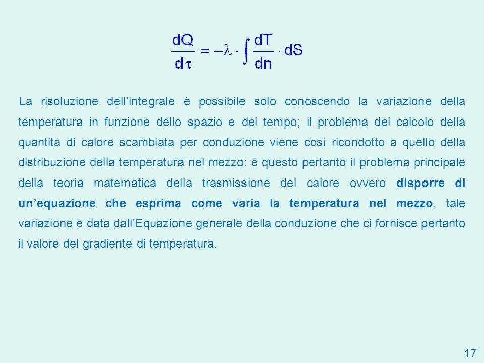La risoluzione dell'integrale è possibile solo conoscendo la variazione della temperatura in funzione dello spazio e del tempo; il problema del calcolo della quantità di calore scambiata per conduzione viene così ricondotto a quello della distribuzione della temperatura nel mezzo: è questo pertanto il problema principale della teoria matematica della trasmissione del calore ovvero disporre di un'equazione che esprima come varia la temperatura nel mezzo, tale variazione è data dall'Equazione generale della conduzione che ci fornisce pertanto il valore del gradiente di temperatura.