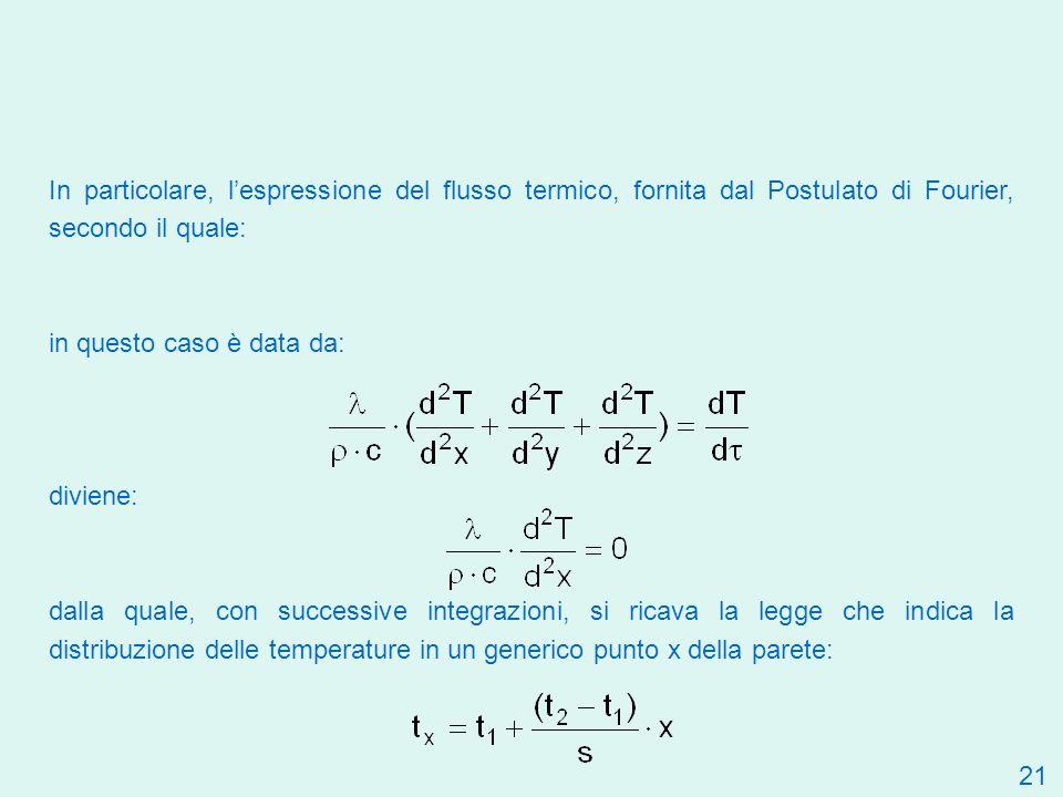 In particolare, l'espressione del flusso termico, fornita dal Postulato di Fourier, secondo il quale: