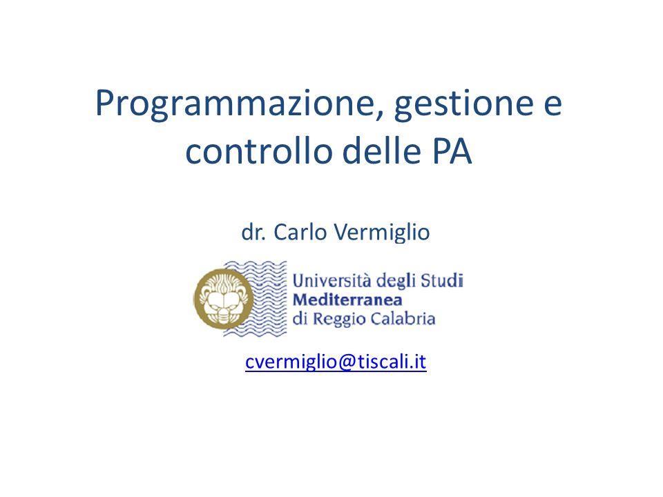 Programmazione, gestione e controllo delle PA
