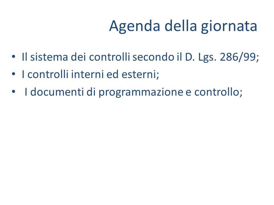 Agenda della giornata Il sistema dei controlli secondo il D. Lgs. 286/99; I controlli interni ed esterni;