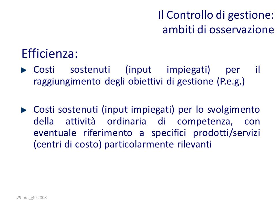 Il Controllo di gestione: ambiti di osservazione