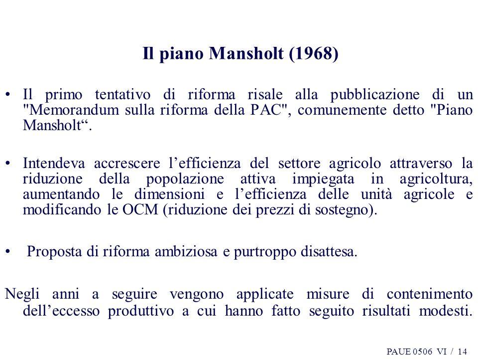 Il piano Mansholt (1968)