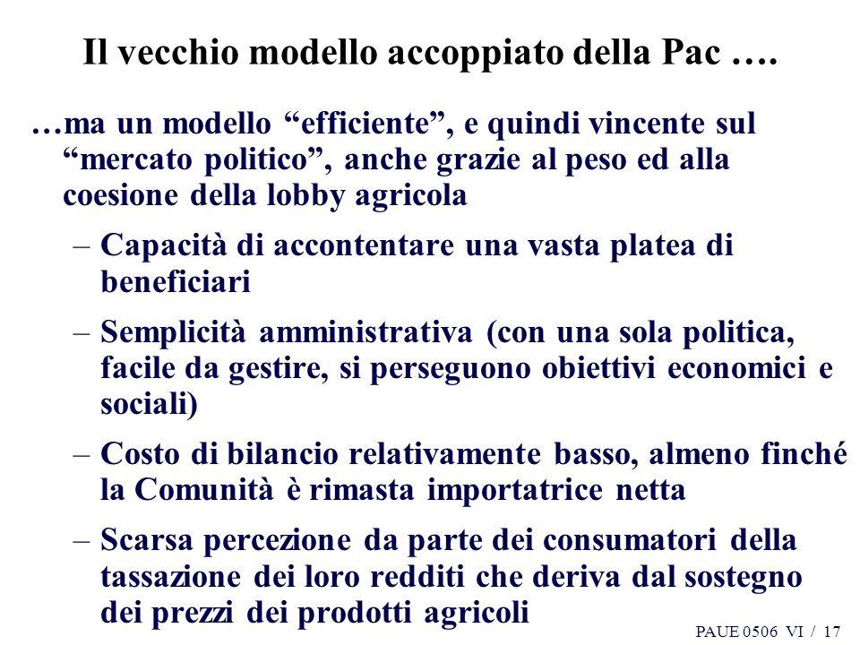 Il vecchio modello accoppiato della Pac ….