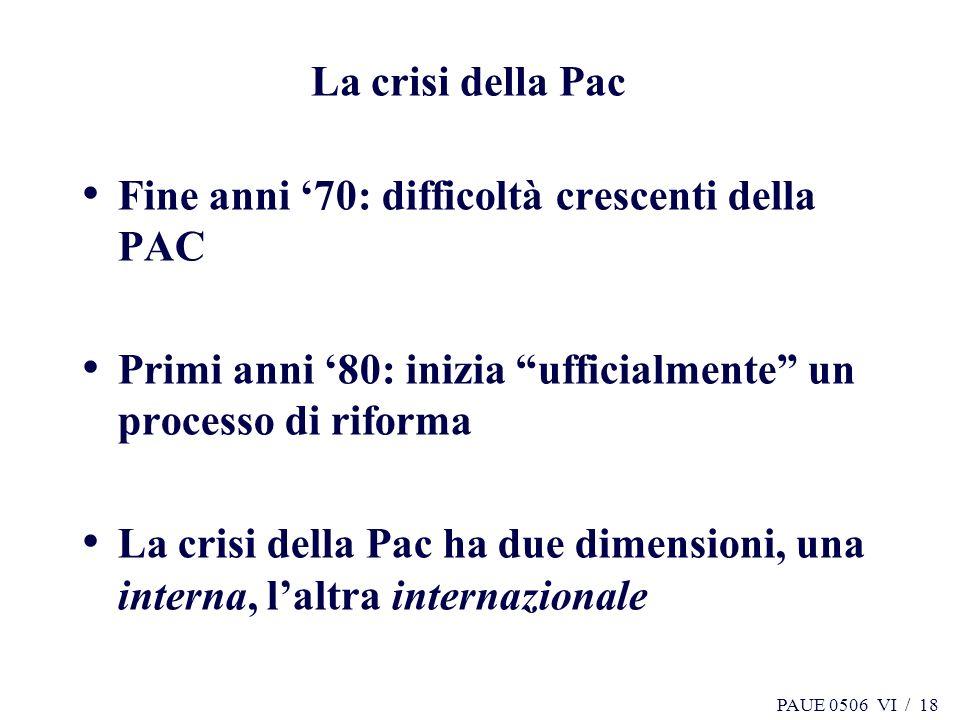 La crisi della Pac Fine anni '70: difficoltà crescenti della PAC. Primi anni '80: inizia ufficialmente un processo di riforma.