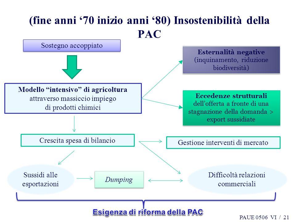 (fine anni '70 inizio anni '80) Insostenibilità della PAC