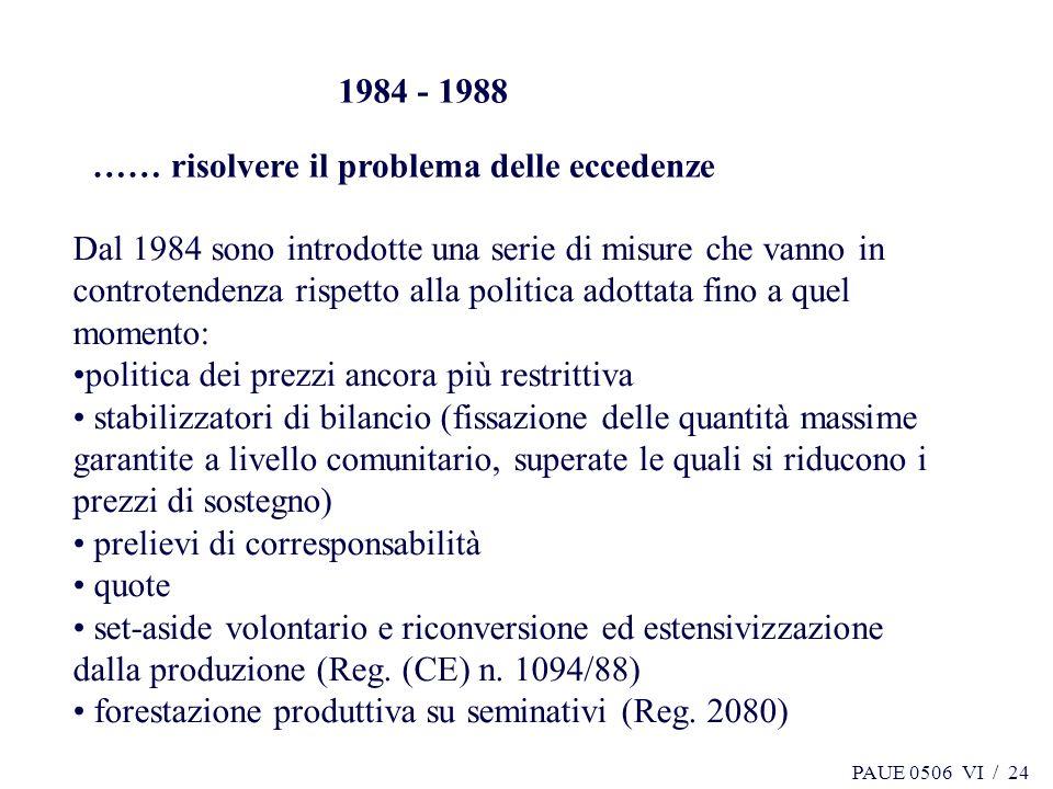 1984 - 1988 …… risolvere il problema delle eccedenze.