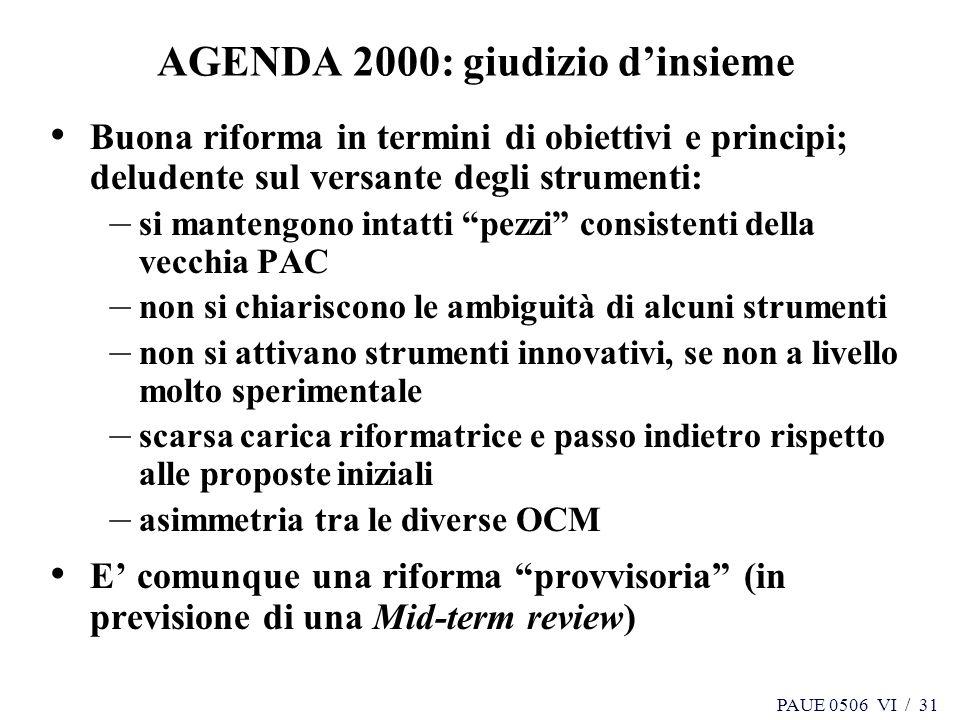 AGENDA 2000: giudizio d'insieme