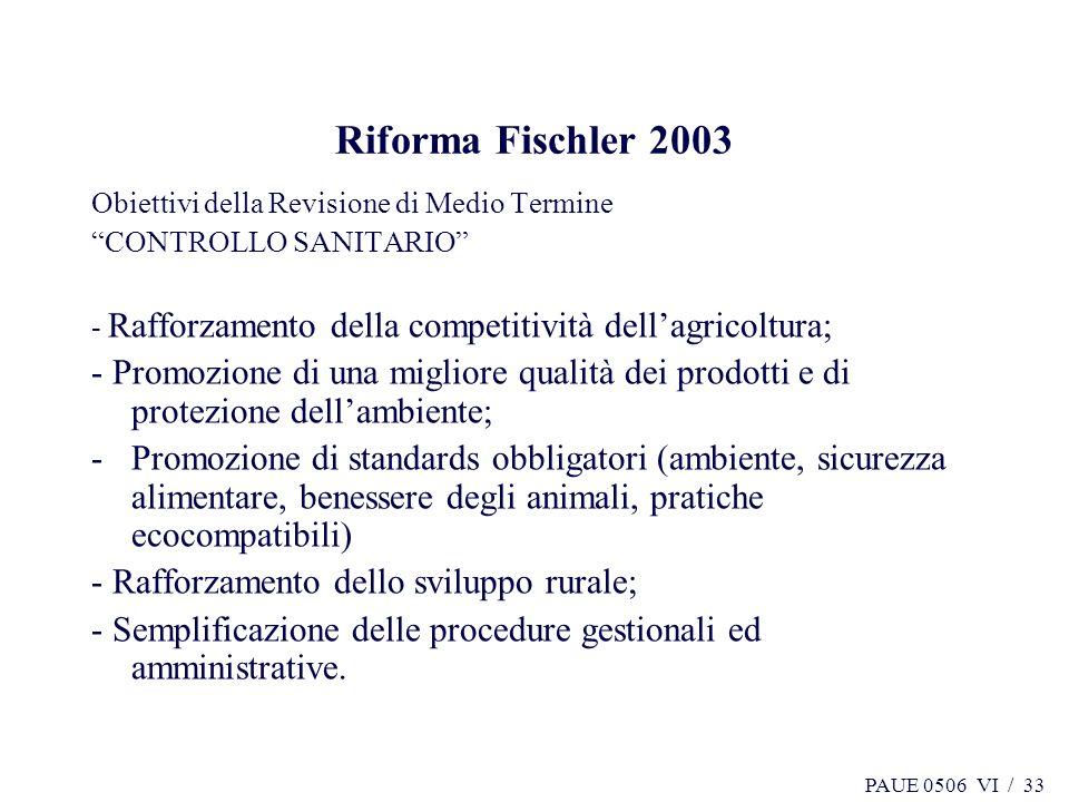 Riforma Fischler 2003 Obiettivi della Revisione di Medio Termine. CONTROLLO SANITARIO - Rafforzamento della competitività dell'agricoltura;