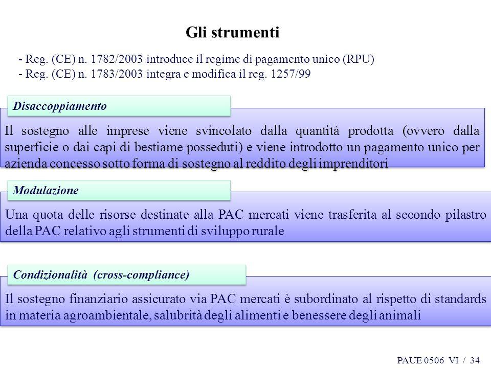 34 Gli strumenti. - Reg. (CE) n. 1782/2003 introduce il regime di pagamento unico (RPU) - Reg. (CE) n. 1783/2003 integra e modifica il reg. 1257/99.