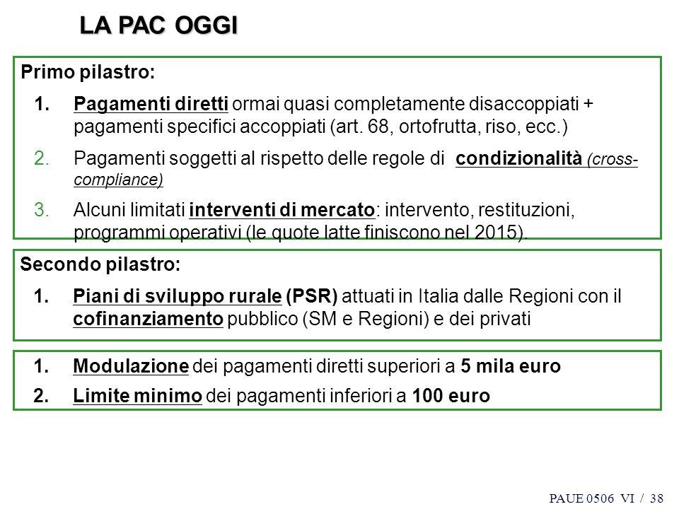 LA PAC OGGI Primo pilastro: