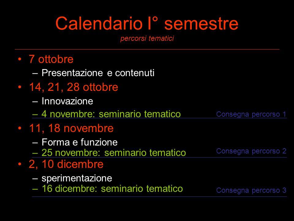 Calendario I° semestre percorsi tematici