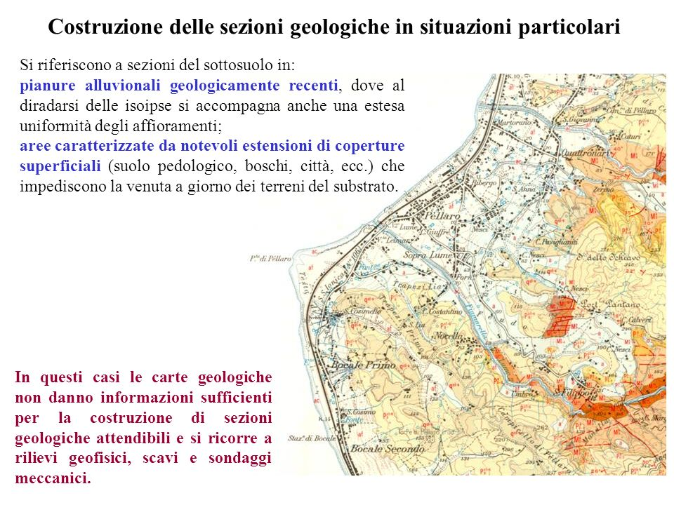 Costruzione delle sezioni geologiche in situazioni particolari