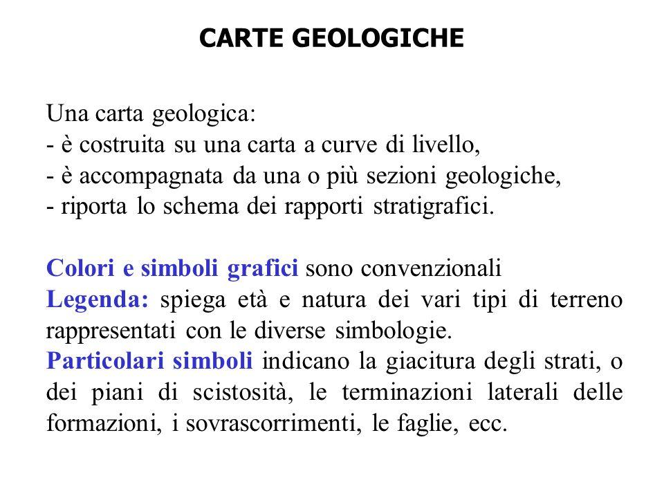 CARTE GEOLOGICHE Una carta geologica: - è costruita su una carta a curve di livello, - è accompagnata da una o più sezioni geologiche,