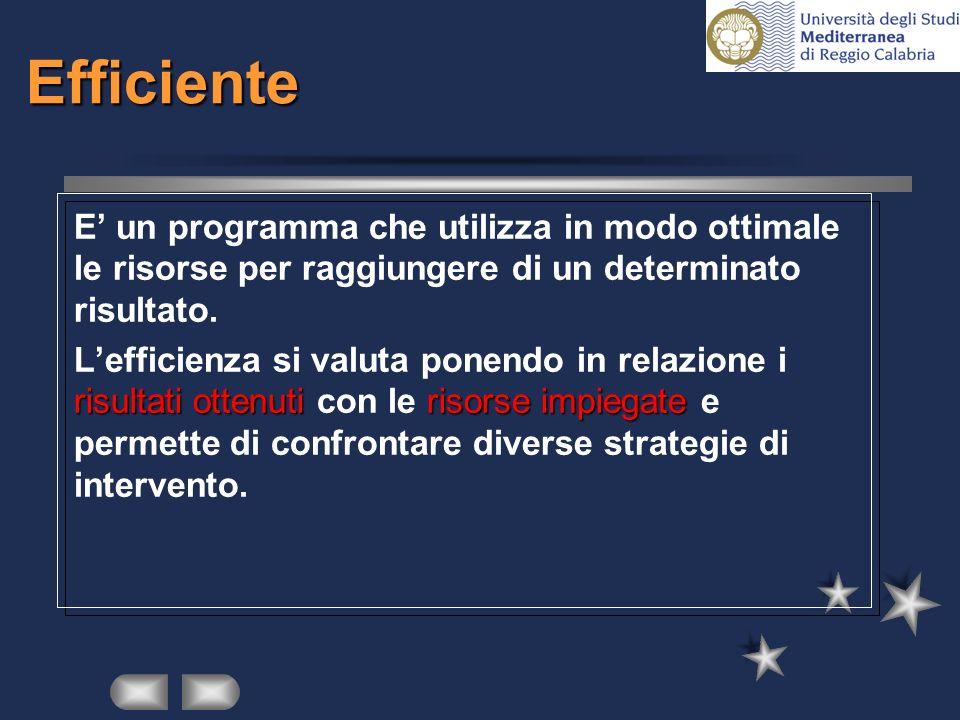 Efficiente E' un programma che utilizza in modo ottimale le risorse per raggiungere di un determinato risultato.