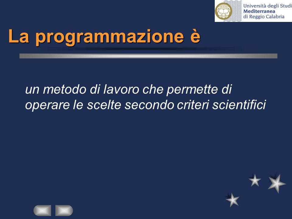 La programmazione è un metodo di lavoro che permette di operare le scelte secondo criteri scientifici.