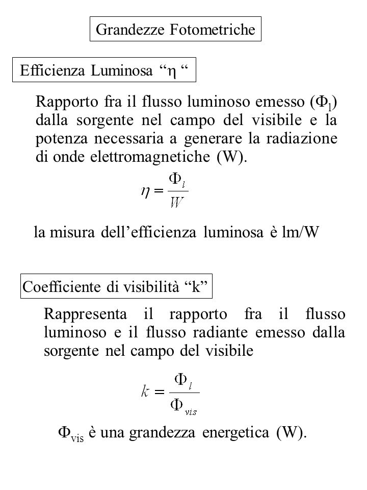 la misura dell'efficienza luminosa è lm/W