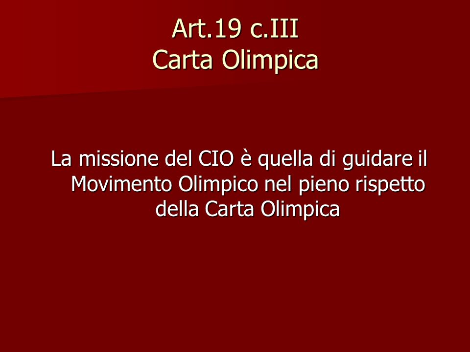 Art.19 c.III Carta Olimpica