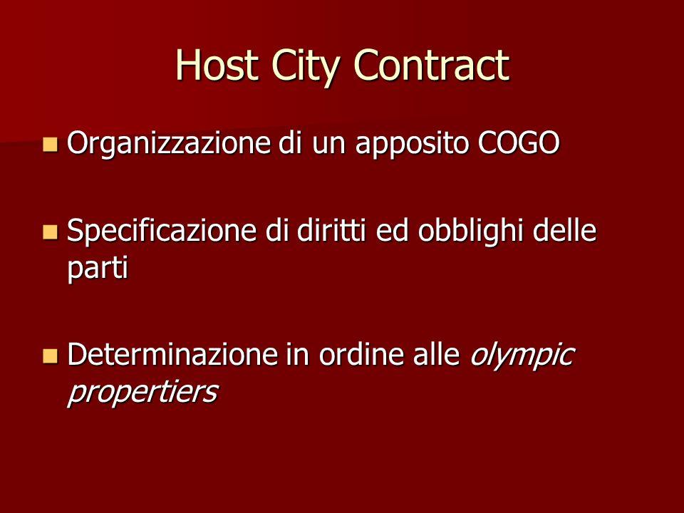 Host City Contract Organizzazione di un apposito COGO