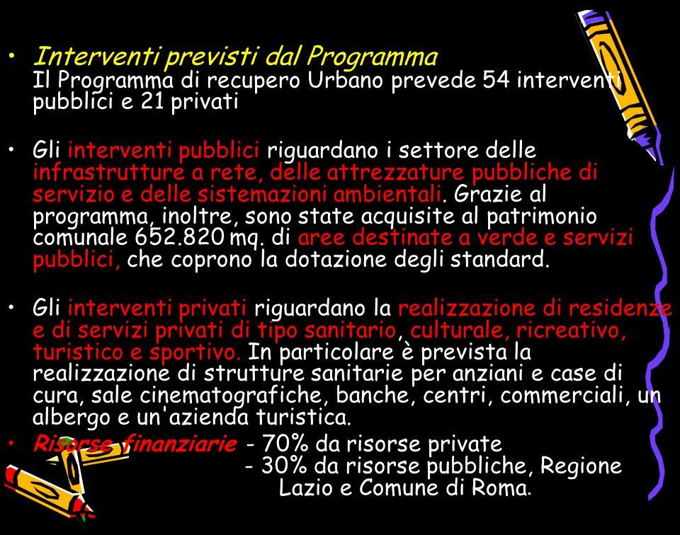 Interventi previsti dal Programma Il Programma di recupero Urbano prevede 54 interventi pubblici e 21 privati.