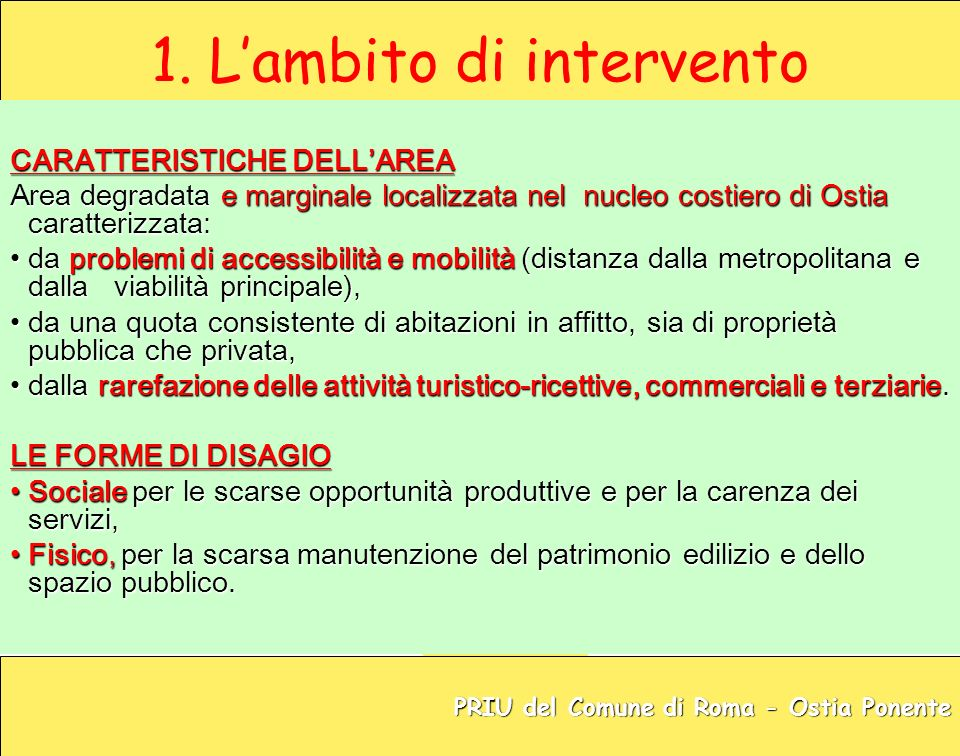 1. L'ambito di intervento