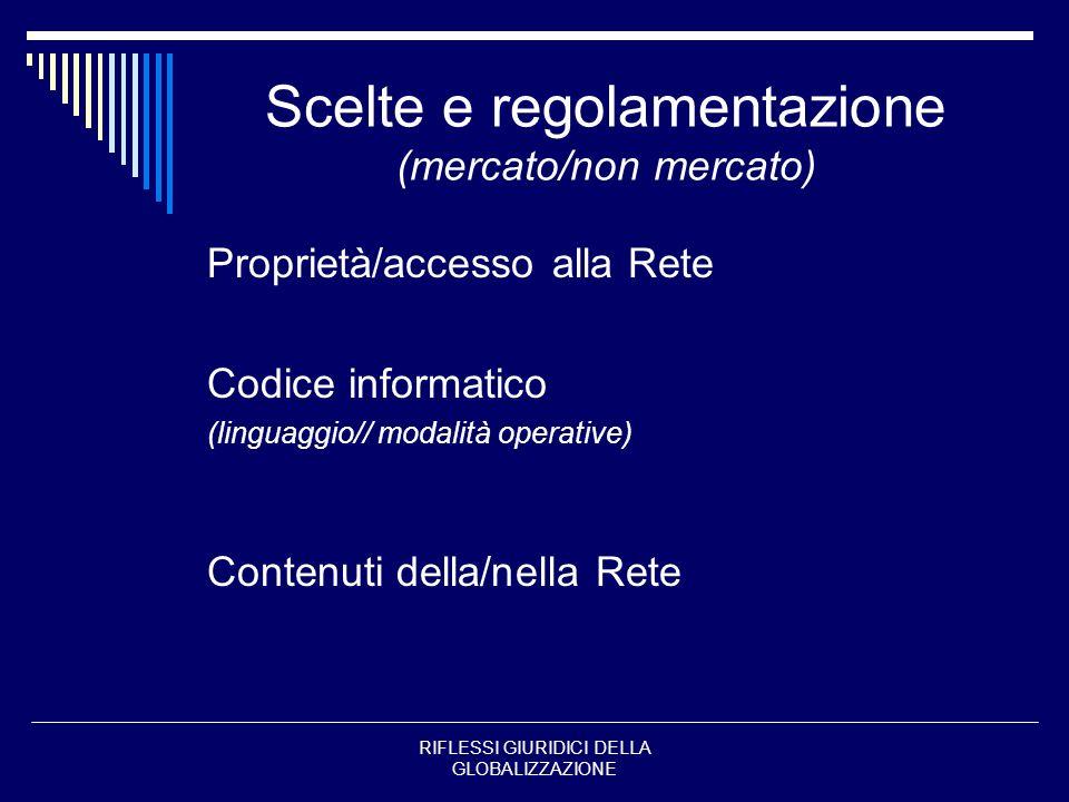 Scelte e regolamentazione (mercato/non mercato)