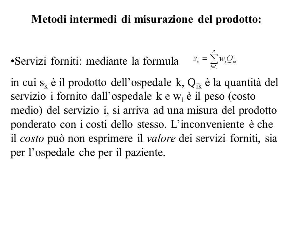 Metodi intermedi di misurazione del prodotto: