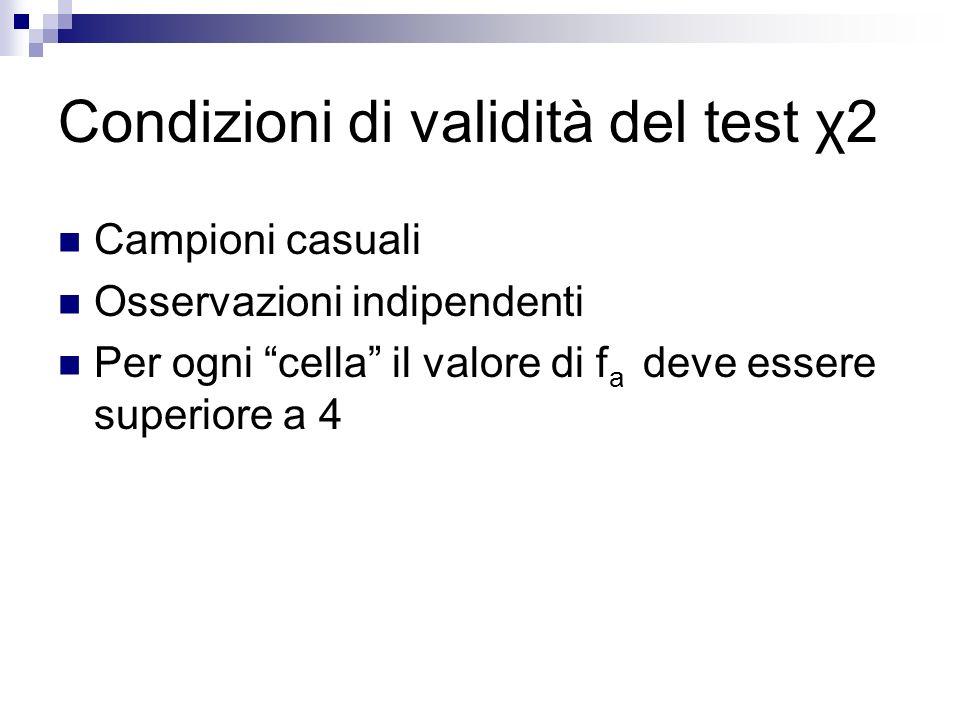 Condizioni di validità del test χ2