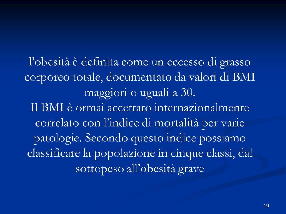 l'obesità è definita come un eccesso di grasso corporeo totale, documentato da valori di BMI maggiori o uguali a 30.