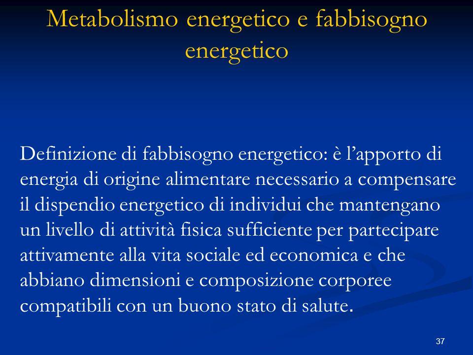 Metabolismo energetico e fabbisogno energetico