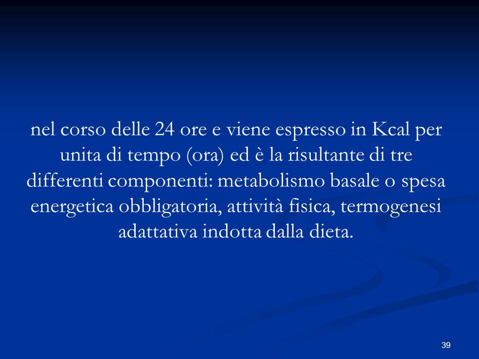 nel corso delle 24 ore e viene espresso in Kcal per unita di tempo (ora) ed è la risultante di tre differenti componenti: metabolismo basale o spesa energetica obbligatoria, attività fisica, termogenesi adattativa indotta dalla dieta.