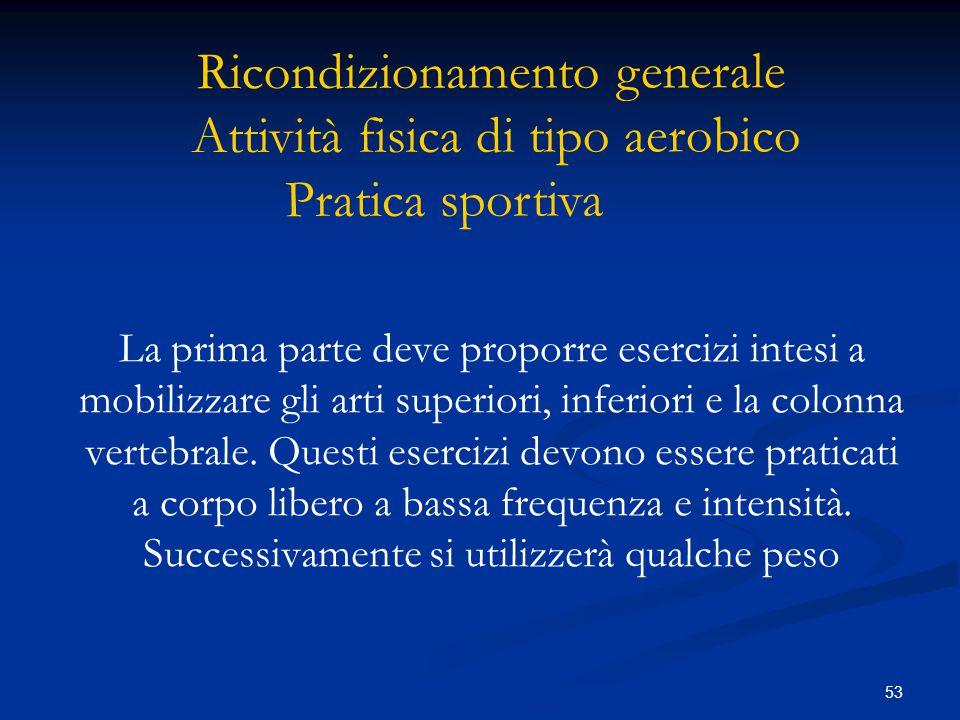 Ricondizionamento generale Attività fisica di tipo aerobico Pratica sportiva
