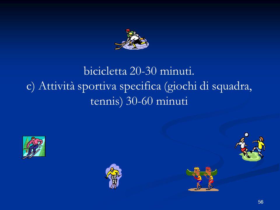 bicicletta 20-30 minuti. c) Attività sportiva specifica (giochi di squadra, tennis) 30-60 minuti