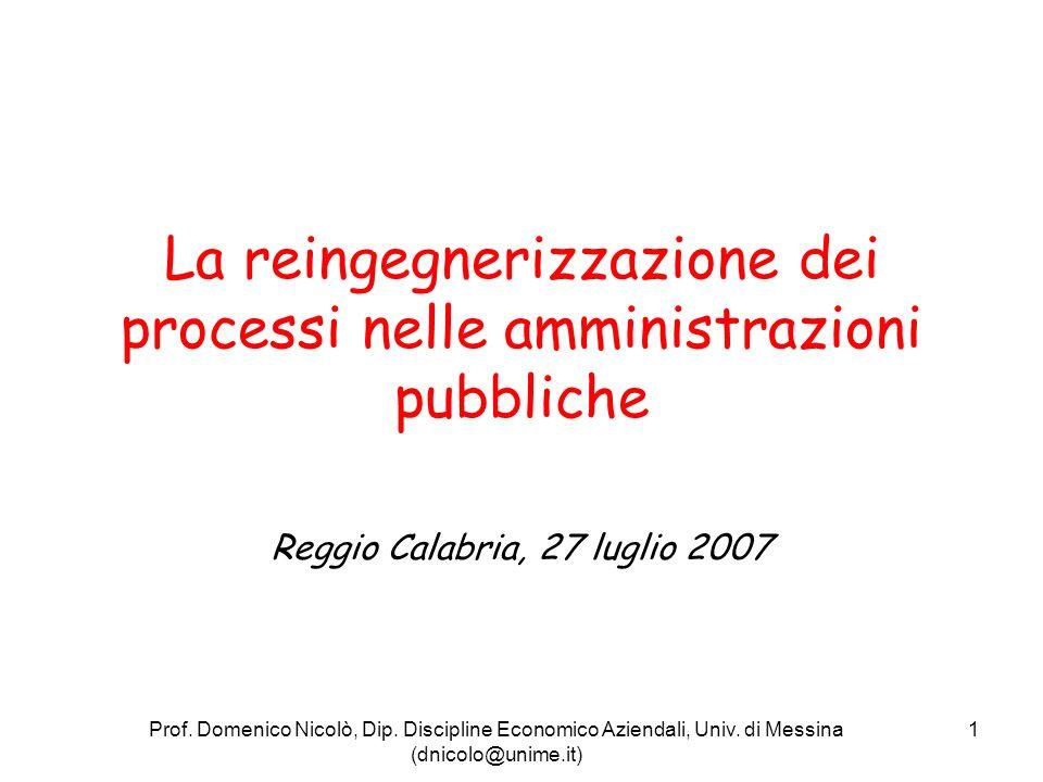 La reingegnerizzazione dei processi nelle amministrazioni pubbliche
