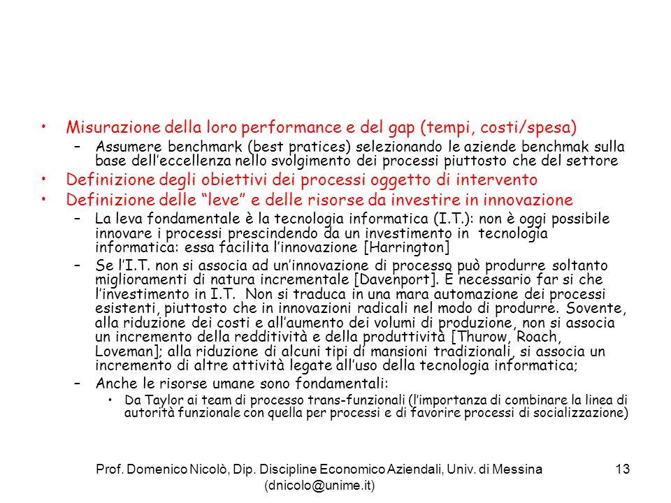Misurazione della loro performance e del gap (tempi, costi/spesa)