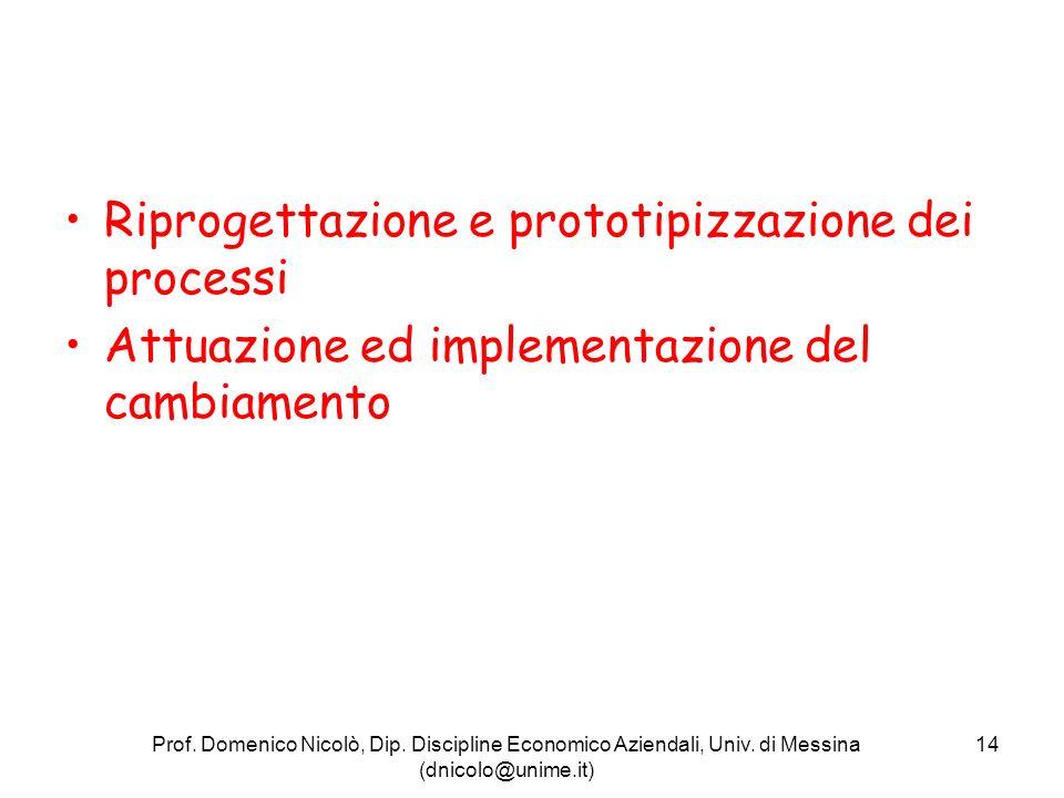 Riprogettazione e prototipizzazione dei processi