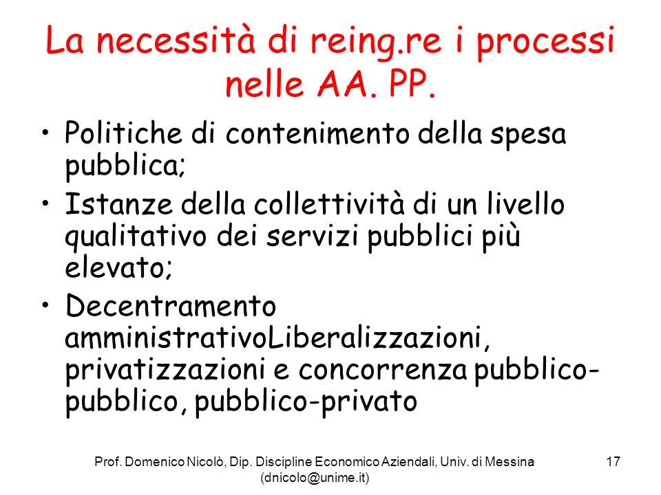 La necessità di reing.re i processi nelle AA. PP.