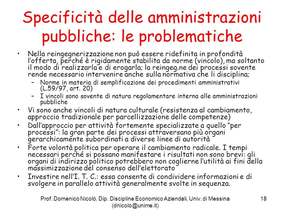 Specificità delle amministrazioni pubbliche: le problematiche