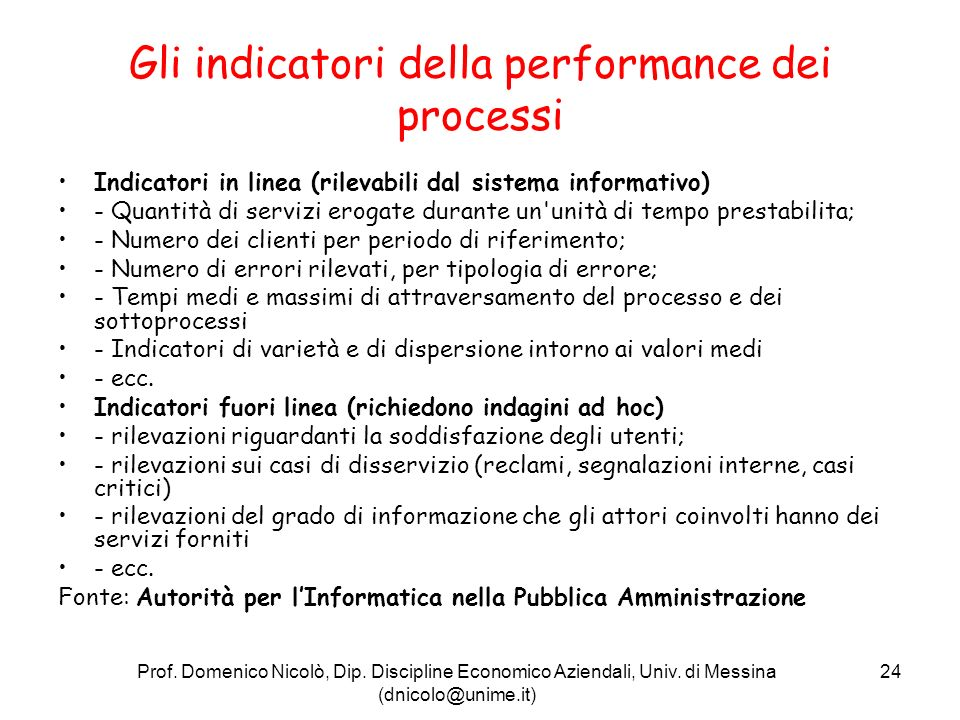 Gli indicatori della performance dei processi