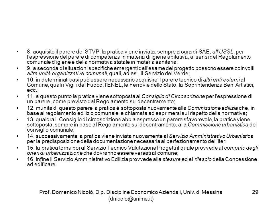 8. acquisito il parere del STVP, la pratica viene inviata, sempre a cura di SAE, all'USSL, per l'espressione del parere di competenza in materia di igiene abitativa, ai sensi del Regolamento comunale d'igiene e della normativa statale in materia sanitaria;