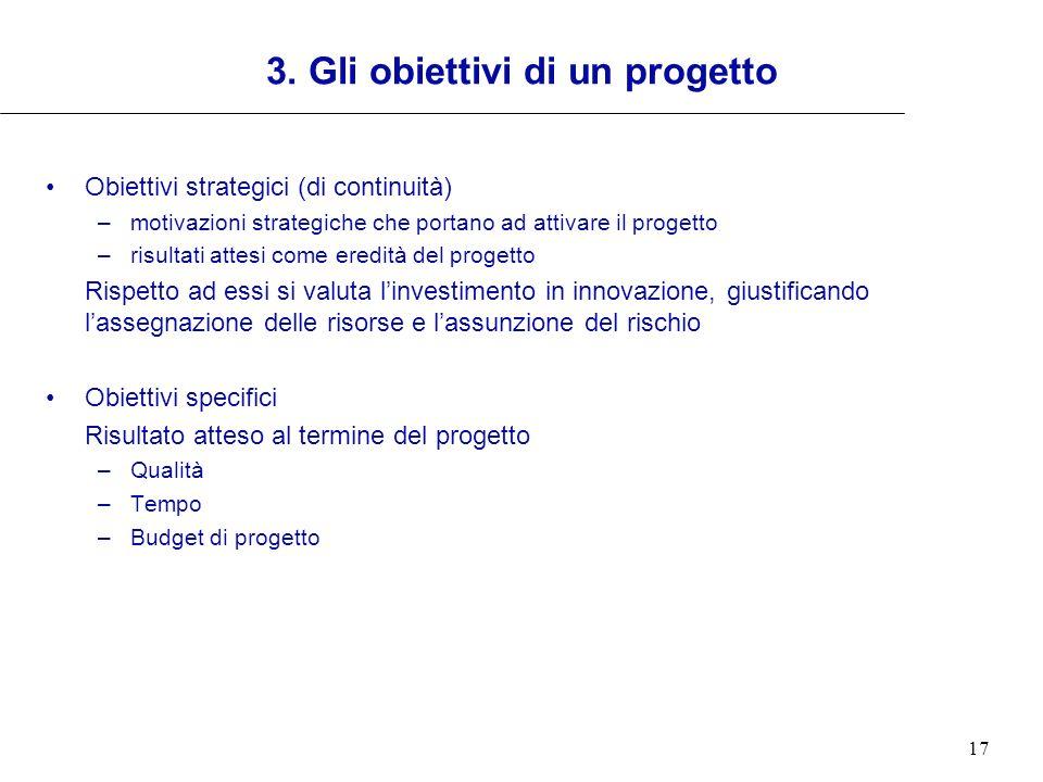 3. Gli obiettivi di un progetto